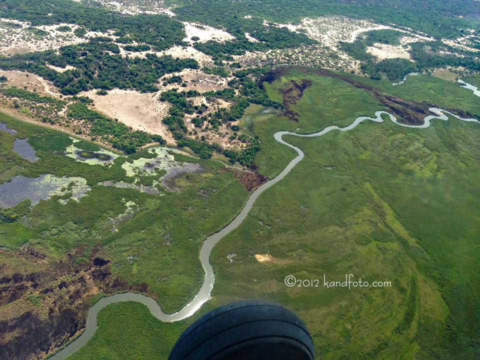 Aerial view of the Okavango Panhandle, Botswana